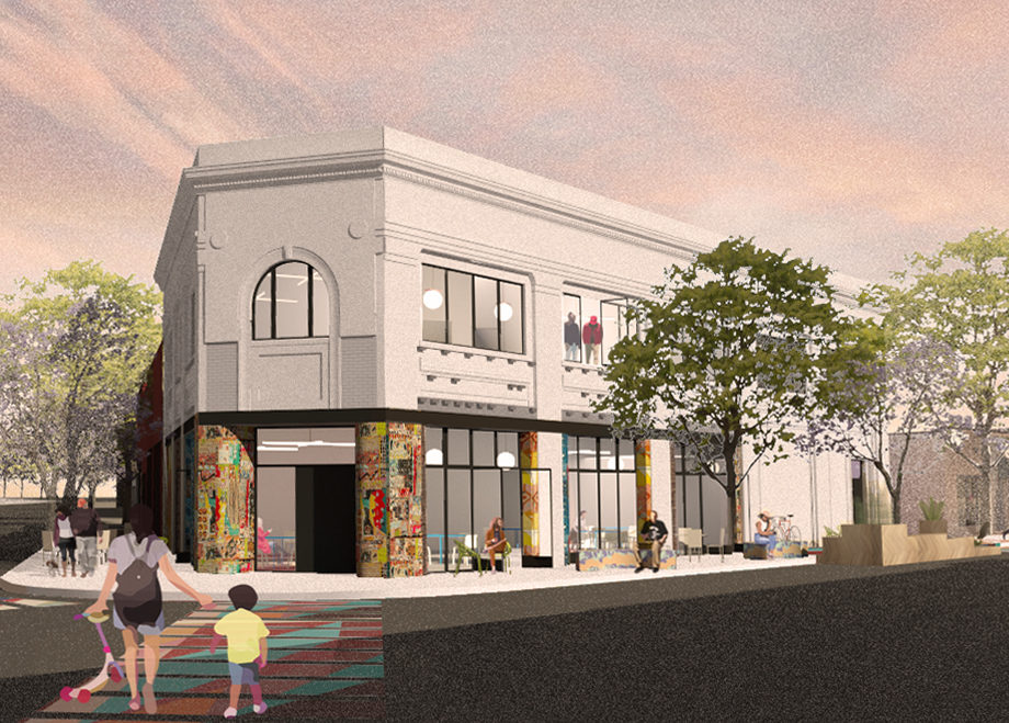 Rendering of The Obama 2-story residential and retail redevelopment of former bank building in Old Redford