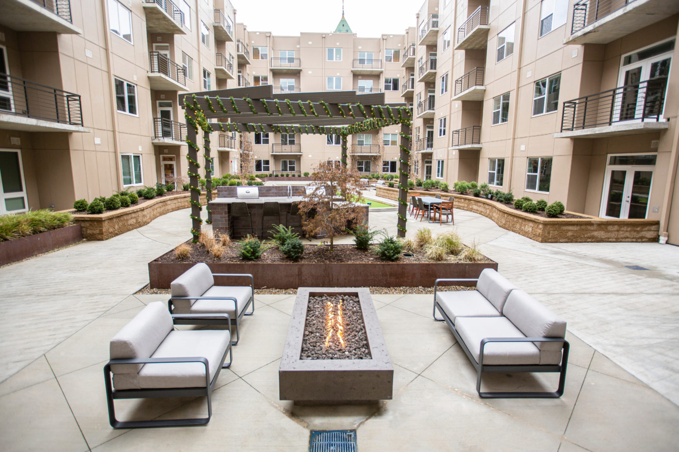 Courtyard with fire pit at The Boulevard in Detroit