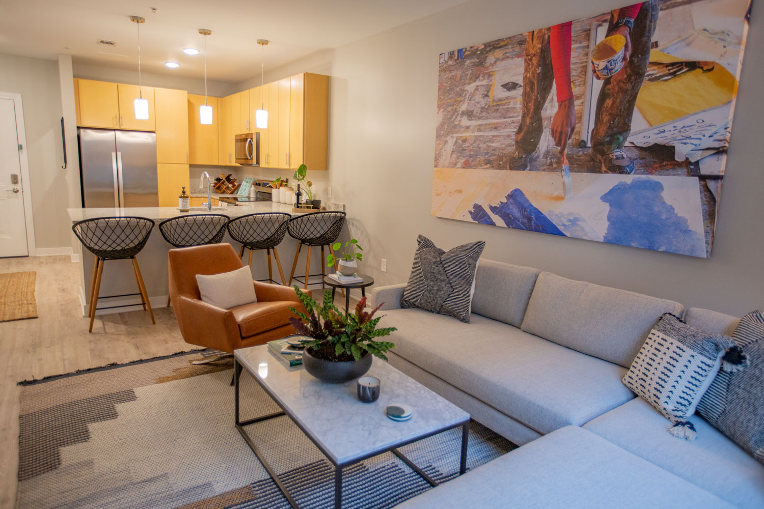 Interior living space in apartment at The Boulevard