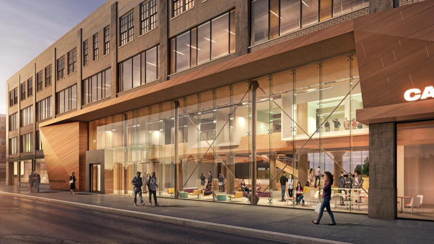 Rendering of 411 Piquette building first floor along Brush St