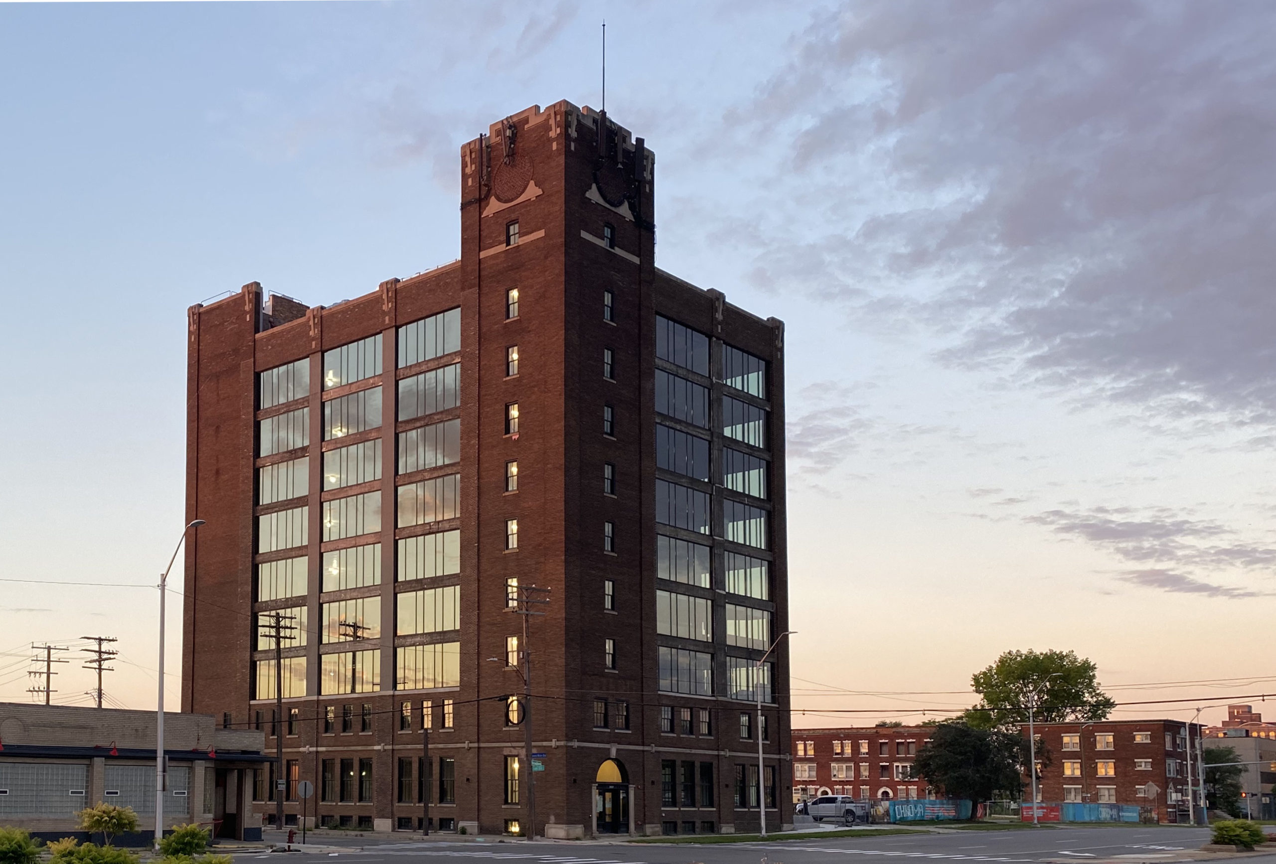 View of Chroma office building along E. Grand Boulevard in Detroit